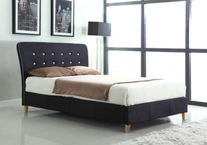 Nina Linen King Size Bed Black with White Piping