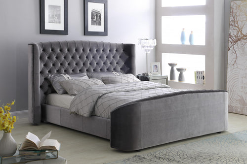 Oregon Velvet Double Bed Silver