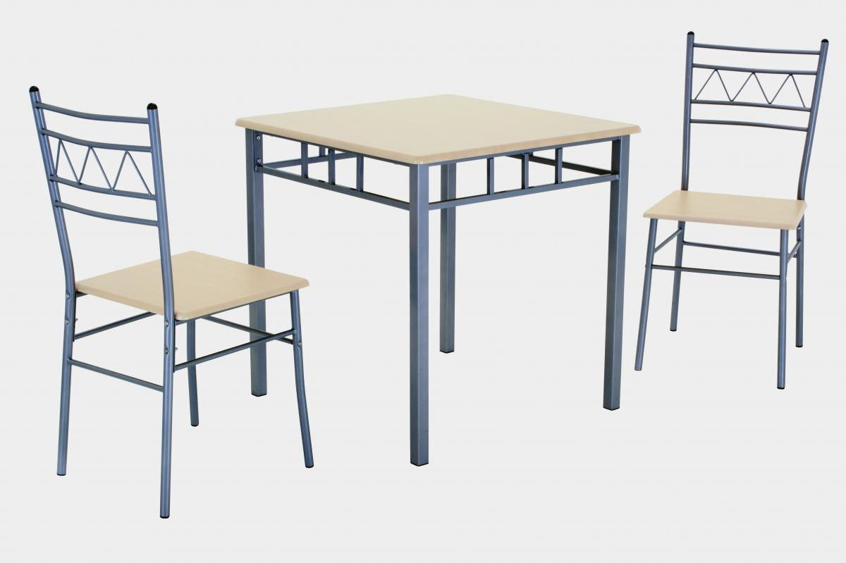 Oslo Small Dining Set with 2 Chairs Silver & Beech