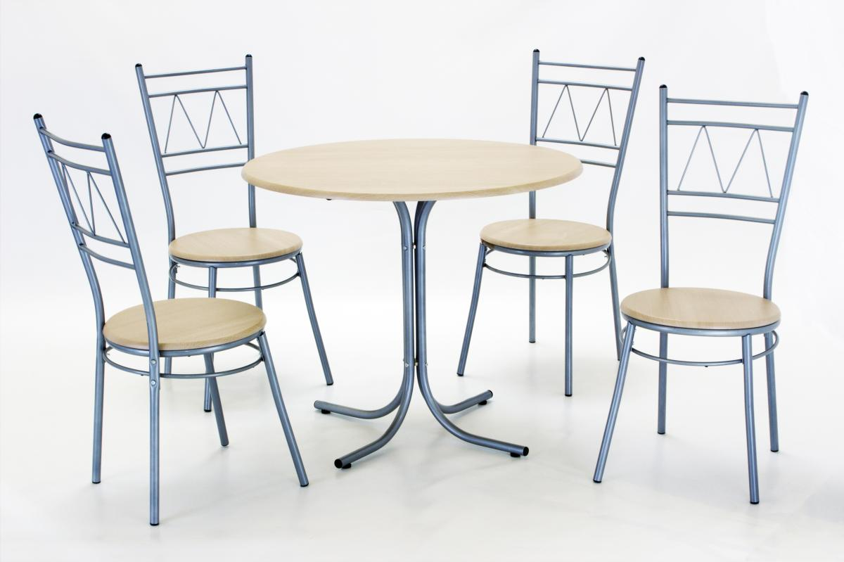 Oslo Round Dining Set with 4 Chairs Silver & Beech