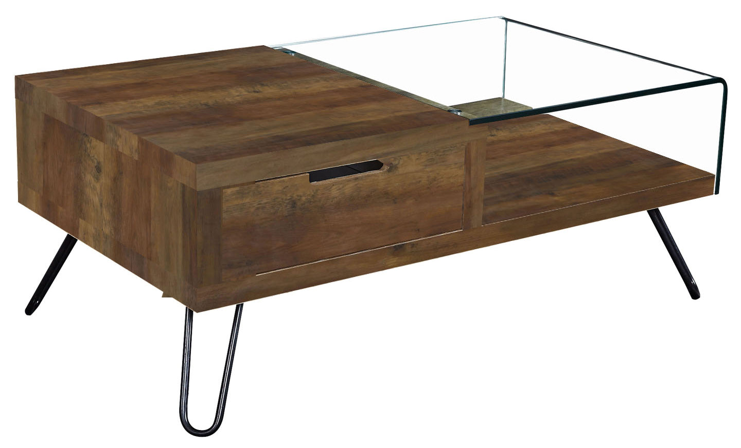 Overton Coffee Table Oak Effect & Bent Glass