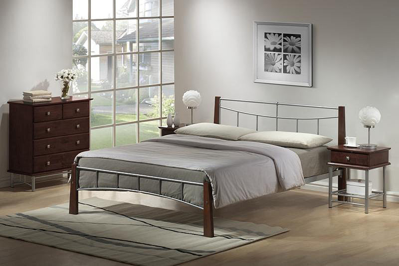 Pamela Bed Double Silver/Dark Oak