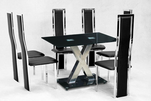Paxel Large Dining Set Chrome&Black 6 Trinity Chairs