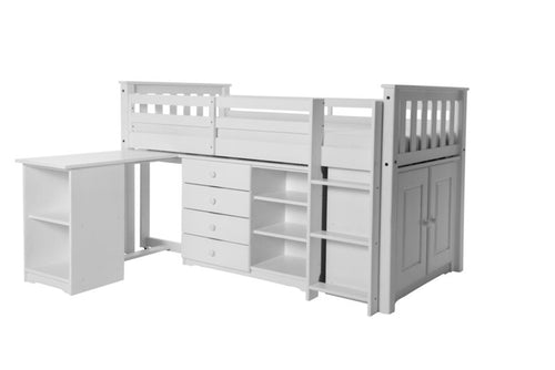 Porto Midi Sleeper with Desk, Chest & Bookcase White
