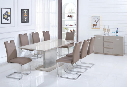 Rembrock High Gloss Ext Dining Table with 6 Chairs