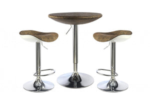 Ripley Bar Table With Stools Chrome with Brown Textilene Top