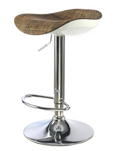 Ripley Bar Stool Chrome & White with Brown Textilene Seat
