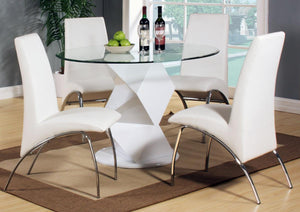 Rowley White High Gloss Dining Set with 4 Chairs