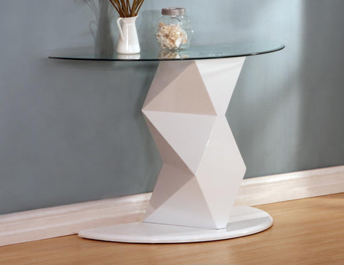 Rowley White High Gloss Console Table