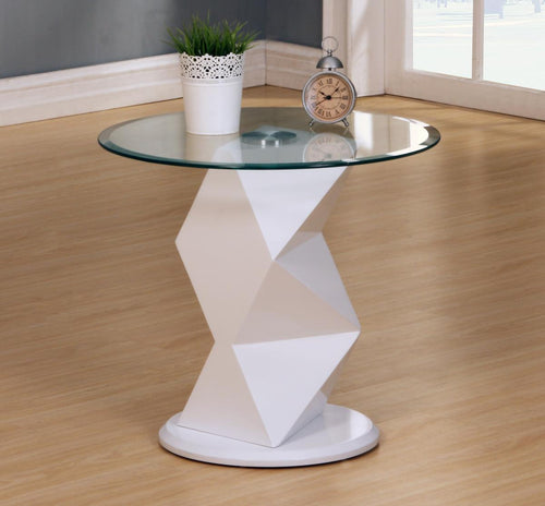 Rowley White High Gloss Lamp Table