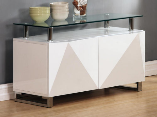 Rowley White High Gloss Sideboard 2 Doors
