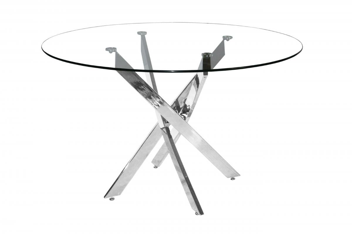 Samurai Small Dining Table Chrome & Clear