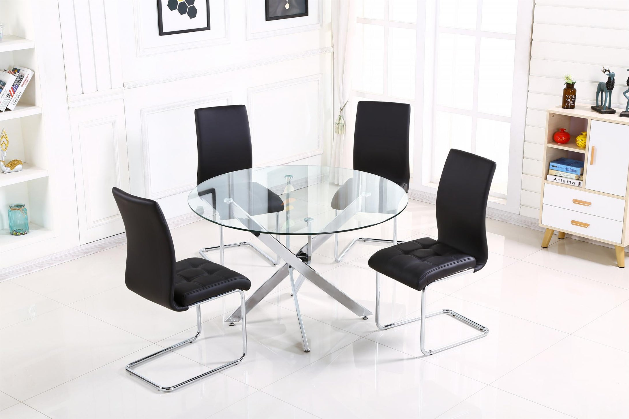 Samurai Large Dining Table Chrome & Clear with 4 Chairs