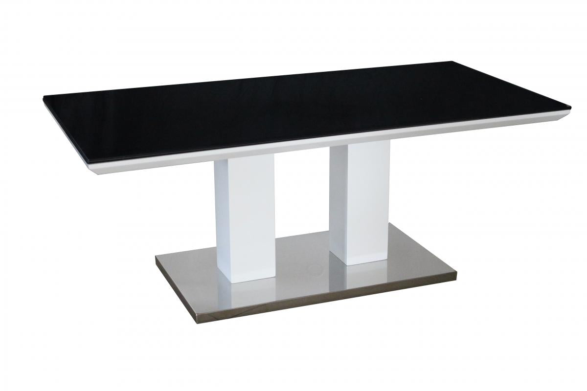 Sasha Black Painted Glass Coffee Table Black & White
