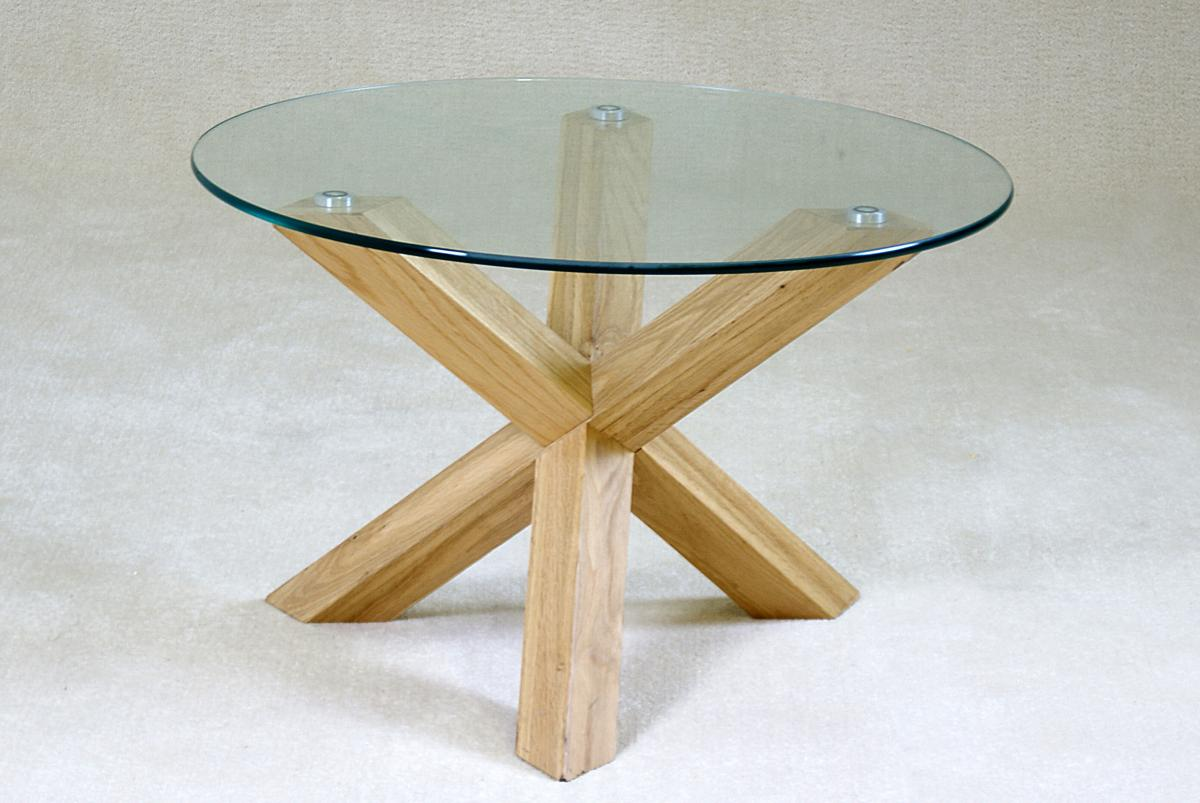 Saturn Solid Oak Coffee Table with Glass Top