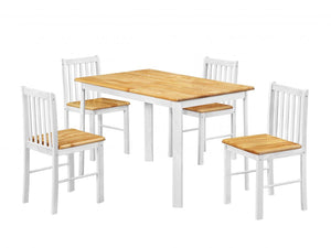 Sheldon Dining Set with 4 Chairs Natural Oak & White