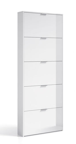 Arctic Shoe Cabinet 5 Doors High Shine White