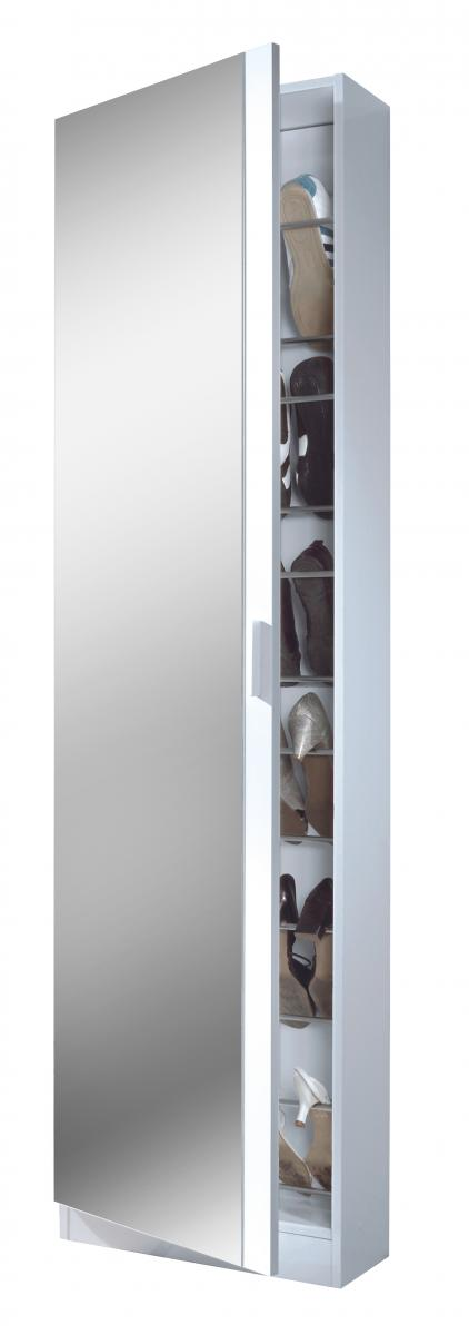 Arctic Shoe Cabinet Mirrored Door & 6 Shelve High Shine White