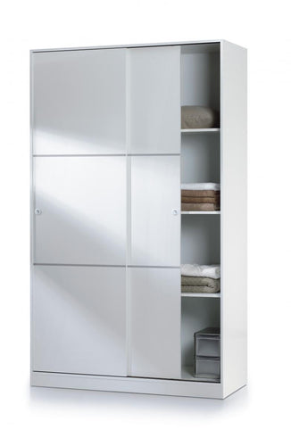 Arctic Sliding Wardrobe 4 Foot with Shelves High Shine White
