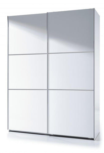 Arctic Sliding Wardrobe 5 Foot Full Hanging High Shine White