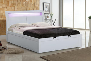 Tanya Storage High Gloss King Size Bed White
