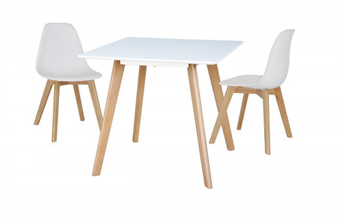 Belgium Small Dining Table White with 4 Belgium Chairs
