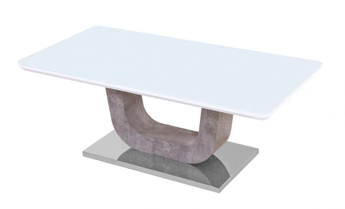 Topaz White Glass Coffee Table with Stone Effect
