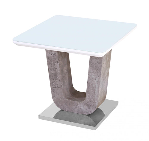 Topaz White Glass Lamp Table with Stone Effect