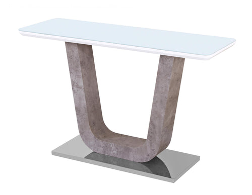 Topaz White Glass Console Table with Stone Effect