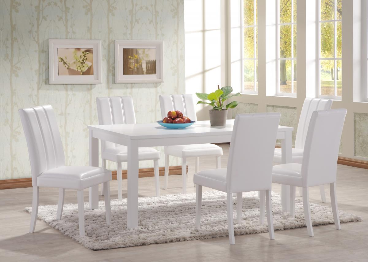 Trogon Dining Set White 6 Chairs