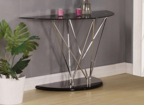 Uplands Glass Console Table Chrome & Black