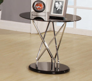 Uplands Glass Lamp Table Chrome & Black