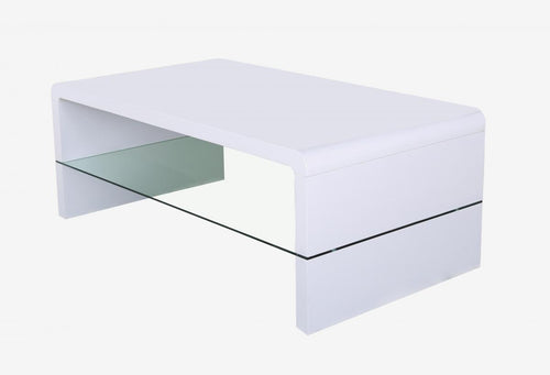 Vala High Gloss Coffee Table with Glass Shelf White