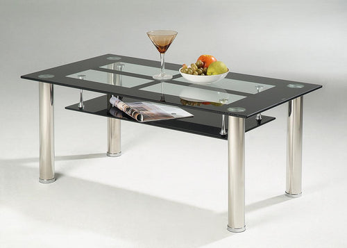 Vasha High Gloss Coffee Table with Glass Shelf White
