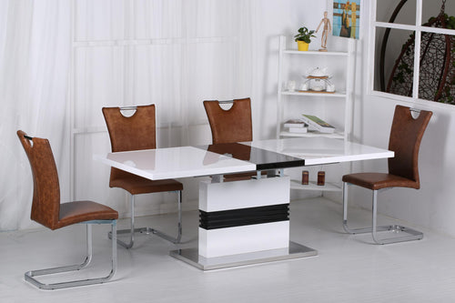 Vienna High Gloss Ext Dining Table White & Black