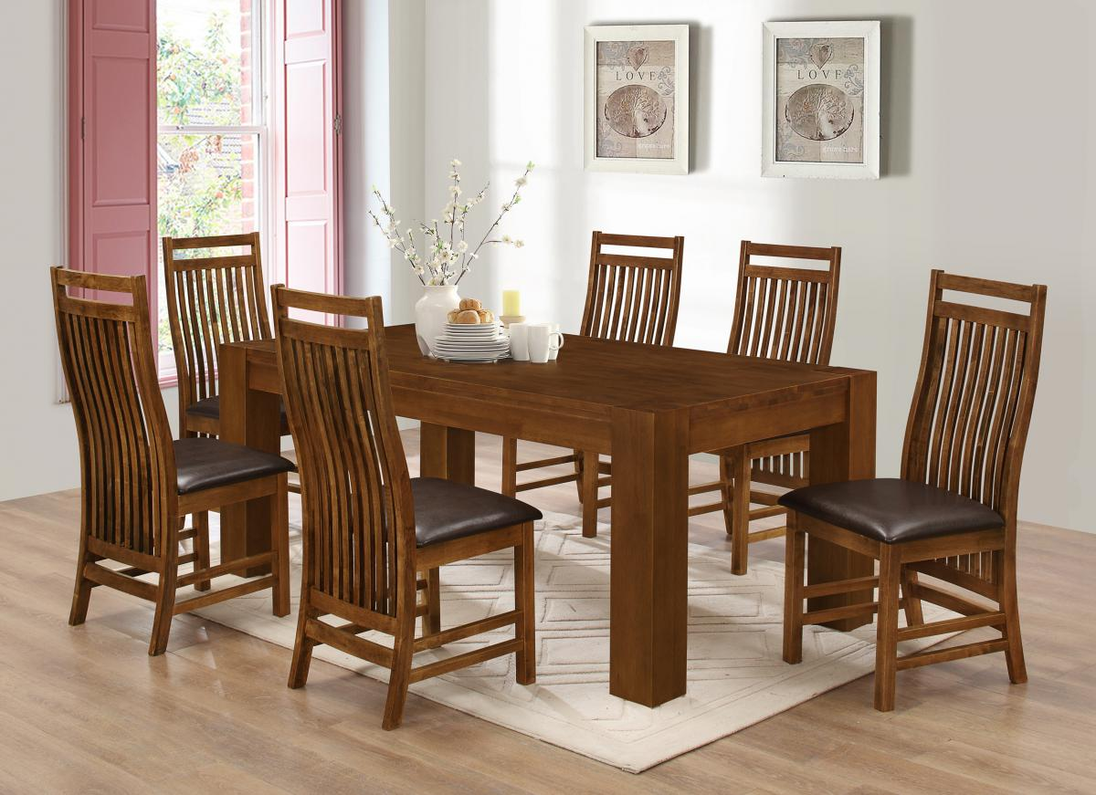 Yaxley Dining Set with 6 Chairs Rustic Oak