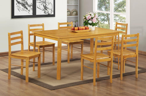 York Large Dining Set with 6 Chairs Natural Oak