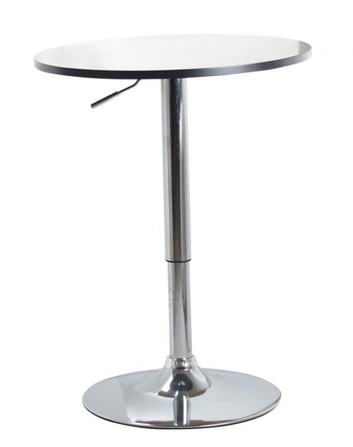 Zen Bar Table Natural or White Top with Chrome Base