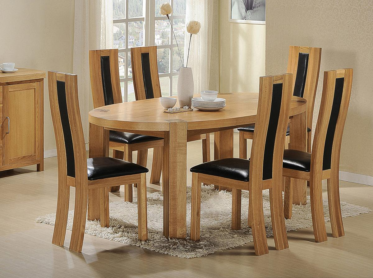 Zeus Oval Dining Set Oak 6 Chairs