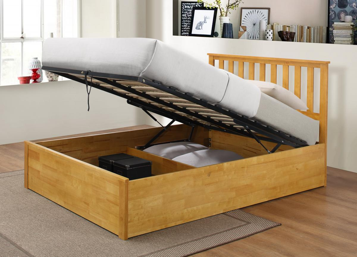 Zoe Storage King Size Bed Solid Rubberwood Oak