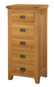 Acorn Solid Oak Chest 5 Drawer Narrow