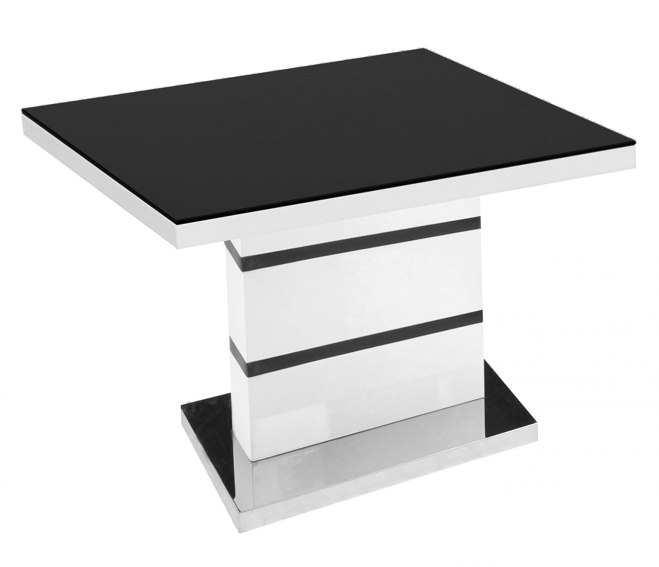 Aldridge High Gloss Lamp Table White with Black Glass Top