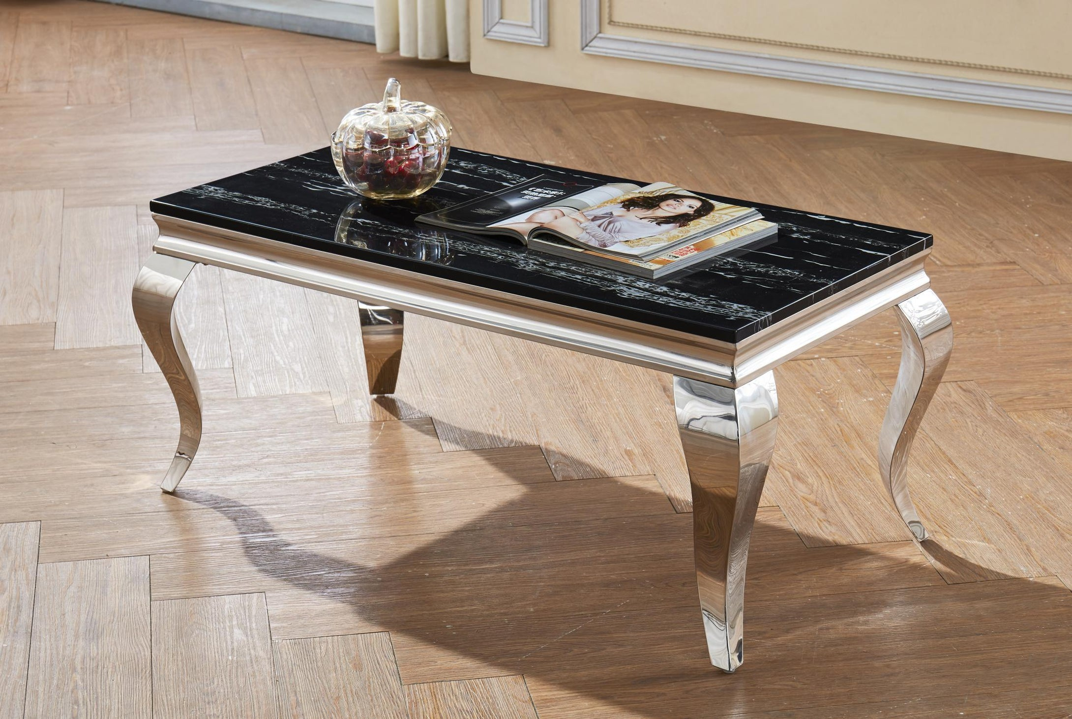 Arriana Marble Coffee Table with Stainless Steel Base