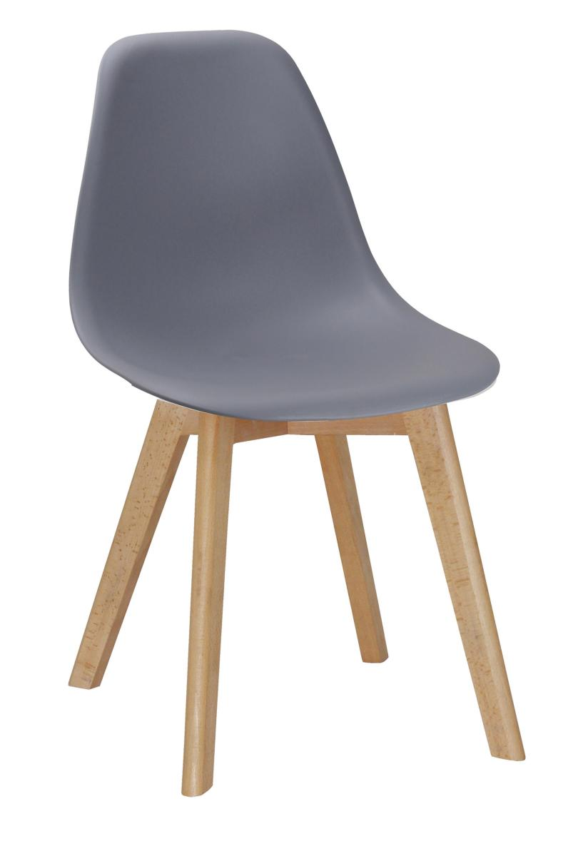 Belgium Plastic (PP) Chairs with Solid Beech Legs Grey
