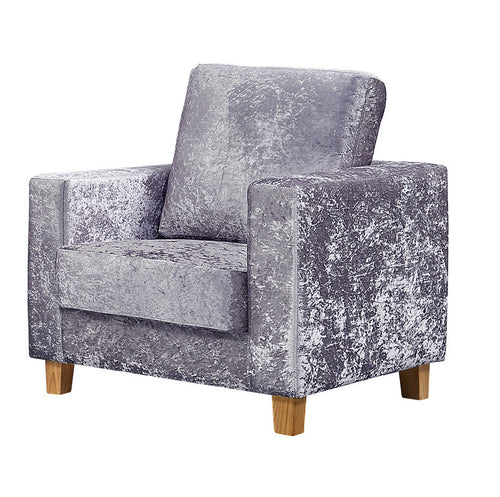 Chesterfield 1 Seater Sofa Crushed Velvet Silver