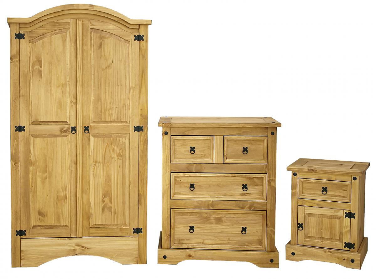 Corona Trio Wardrobe, Chest & Bedside
