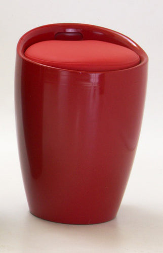 Dawson Red High Gloss Stool with Storage