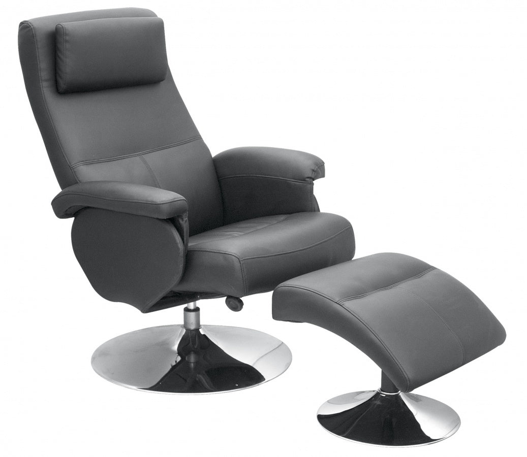 Denton Recliner with Footstool PU & PVC Black