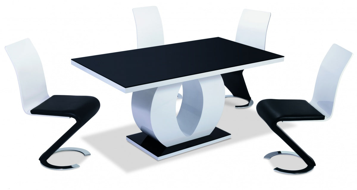 Edenhall High Gloss Dining Table White with Black Glass Top