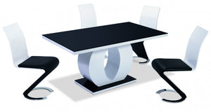 Edenhall High Gloss Dining Set White with Black Glass Top with 4 Chairs